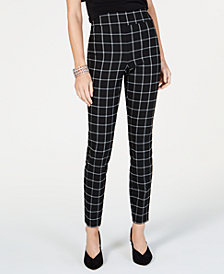 I.N.C. Petite Windowpane-Print Skinny Pants, Created for Macy's