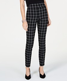 I.N.C. Windowpane-Print Skinny Pants, Created for Macy's