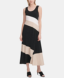 Calvin Klein Sleeveless Colorblocked Maxi Dress