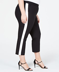 MICHAEL Michael Kors Plus Size Side-Stripe Cropped Pants