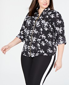 MICHAEL Michael Kors Plus Size Zip-Front Shirt