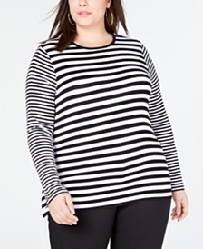 MICHAEL Michael Kors Plus Size Striped Top