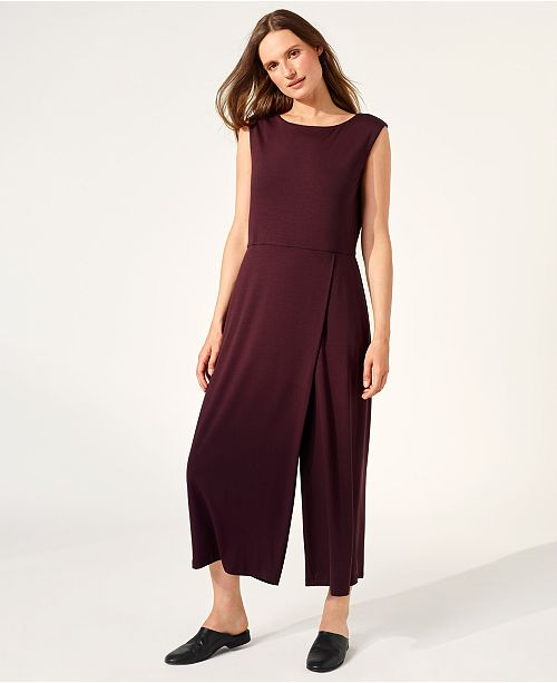 307b82416a6 ... Eileen Fisher Stretch Jersey Cropped Faux-Wrap Jumpsuit