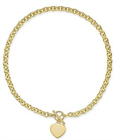 "Giani Bernini Heart 18"" Pendant Necklace in 18k Gold-Plated Sterling Silver, Created for Macy's"