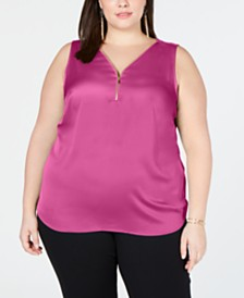 I.N.C. Plus Size Zip-Front Tank Top, Created for Macy's