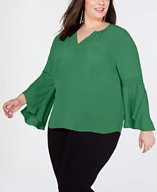 I.N.C. Plus Size Bell-Sleeve Top, Created for Macy's