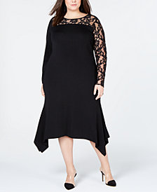 I.N.C. Plus Size Lace-Inset Sweater Dress, Created for Macy's