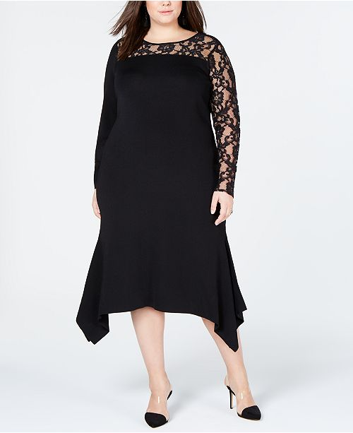 I.N.C. Plus Size Lace-Inset Sweater Dress, Created for Macy\'s