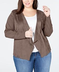 I.N.C. Plus Size Moleskin Cardigan, Created for Macy's