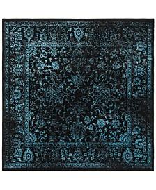 Adirondack Black and Teal 6' x 6' Square Area Rug