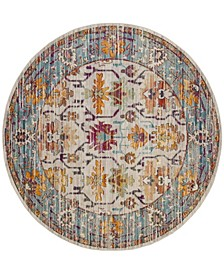 Crystal Cream and Teal 7' x 7' Round Area Rug