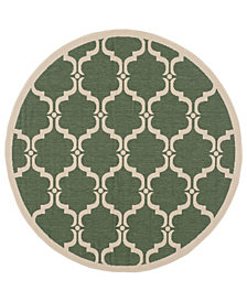 """Safavieh Courtyard Dark Green and Beige 5'3"""" x 5'3"""" Round Area Rug"""