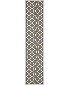 """Safavieh Courtyard Anthracite and Beige 2'3"""" x 10' Sisal Weave Area Rug"""