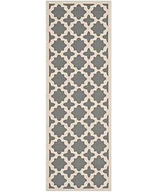 """Safavieh Courtyard Anthracite and Beige 2'3"""" x 6'7"""" Sisal Weave Area Rug"""