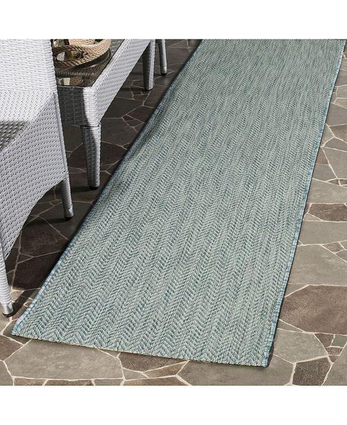 "Safavieh Courtyard Aqua and Grey 2'3"" x 8' Sisal Weave Runner Area Rug"