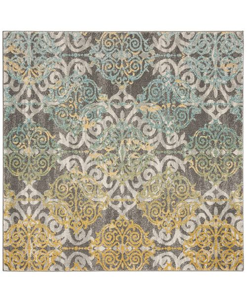 "Safavieh Evoke Gray and Ivory 5'1"" x 5'1"" Square Area Rug"
