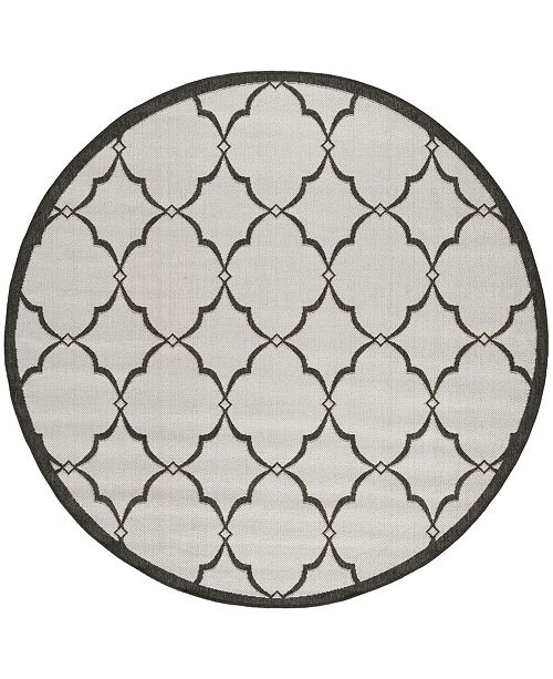 "Safavieh Linden Light Gray and Charcoal 6'7"" x 6'7"" Round Area Rug"