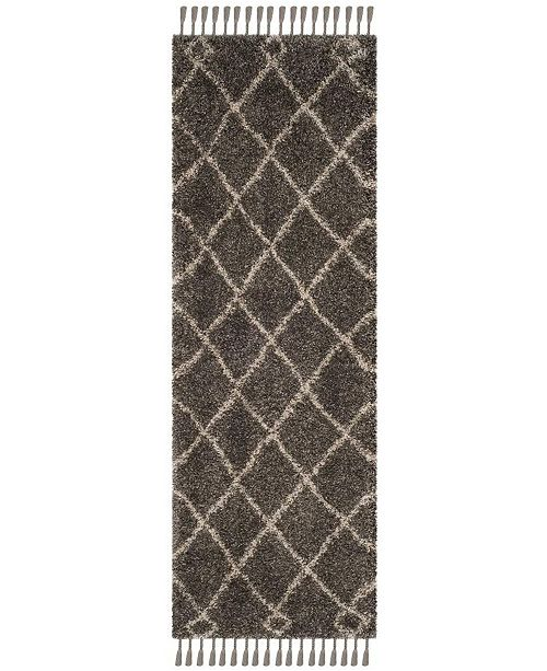 "Safavieh Moroccan Fringe Shag Grey and Cream 2'3"" X 7' Runner Area Rug"