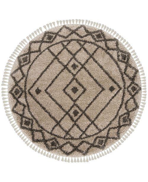 "Safavieh Moroccan Fringe Shag Mushroom and Gray 6'7"" X 6'7"" Round Area Rug"