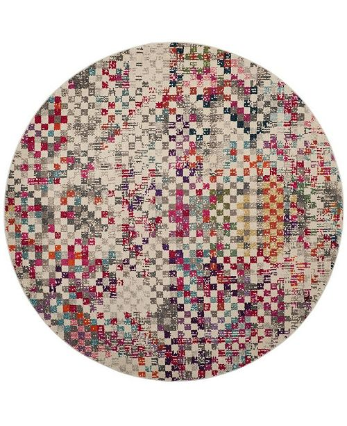 "Safavieh Monaco Gray and Multi 6'7"" x 6'7"" Round Area Rug"