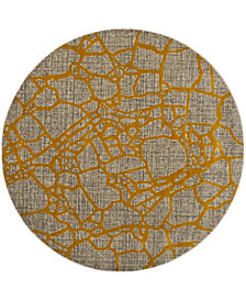 "Safavieh Porcello Light Gray and Yellow 6'7"" x 6'7"" Round Area Rug"