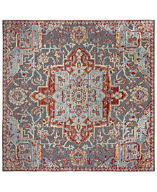 "Safavieh Provance Aqua and Red 6'7"" x 6'7"" Square Area Rug"