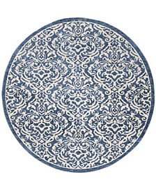 """Brentwood Navy and Creme 6'7"""" x 6'7"""" Round Rug"""