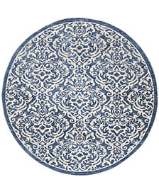 "Safavieh Brentwood Navy and Creme 6'7"" x 6'7"" Round Area Rug"