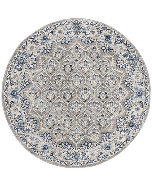 "Safavieh Brentwood Light Gray and Blue 6'7"" x 6'7"" Round Area Rug"