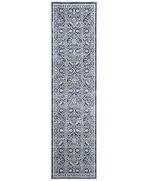 Safavieh Brentwood Navy and Light Grey 2' x 8' Sisal Weave Runner Area Rug