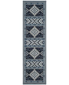 "Classic Vintage Navy and Light Blue 2'3"" x 8' Runner Area Rug"