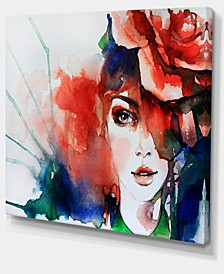 """Designart Woman With Rose Illustration Abstract Canvas Artwork - 40"""" X 30"""""""
