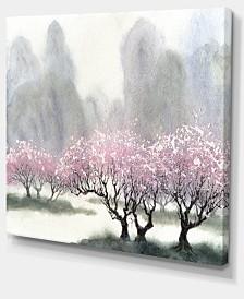 "Designart Flowering Trees At Spring Landscape Art Print Canvas - 40"" X 30"""