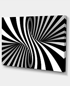 "Designart Black And White Spiral Abstract Canvas Art Print - 32"" X 16"""
