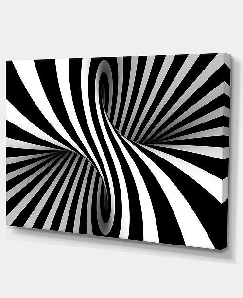 "Design Art Designart Black And White Spiral Abstract Canvas Art Print - 32"" X 16"""