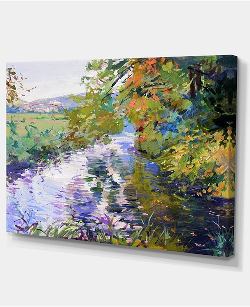 "Design Art Designart Fall In Amazing Colors Landscape Painting Canvas Print - 32"" X 16"""