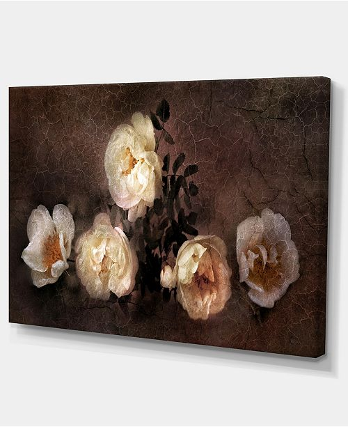 """Design Art Designart Wild Roses In Old Painting Style Floral Art Canvas Print - 32"""" X 16"""""""