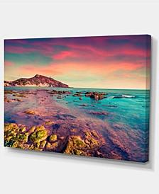 "Designart Giallonardo Beach Colorful Sunset Canvas Print - 32"" X 16"""