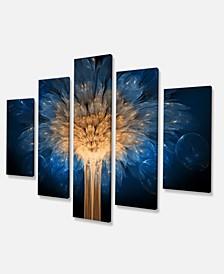 "Designart Fractal 3D Blue Dragon Flower Canvas Art Print - 60"" X 32"" - 5 Panels"