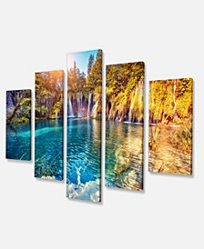 "Designart Turquoise Water And Sunny Beams Photography Canvas Print - 60"" X 32"" - 5 Panels"