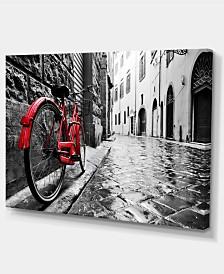 "Designart Retro Vintage Red Bike Cityscape Photo Canvas Art Print - 32"" X 16"""
