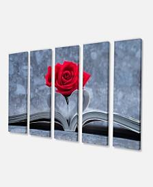 "Designart Red Rose Inside The Book Floral Art Canvas Print - 60"" X 28"" - 5 Panels"
