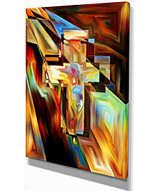 "Designart Light Of The Cross Abstract Canvas Artwork - 12"" X 20"""