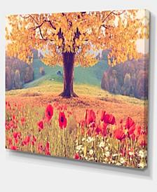 "Designart Landscape With Poppy Flowers Photography Canvas Art Print - 20"" X 12"""