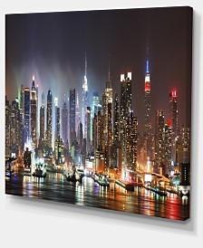 "Designart Lit Nyc Manhattan Skyline Cityscape Photo Canvas Print - 20"" X 12"""
