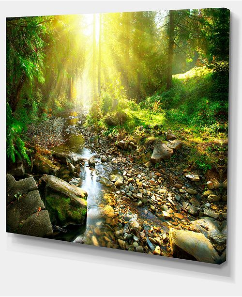 "Design Art Designart Mountain Stream In Forest Landscape Photography Canvas Print - 20"" X 12"""