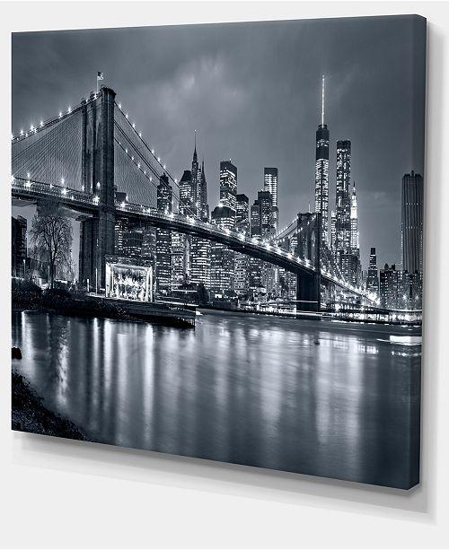 "Design Art Designart Panorama New York City At Night Cityscape Canvas Print - 40"" X 30"""