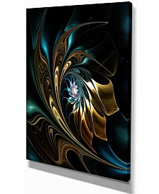 "Designart Brown Blue Fractal Flower In Black Oversized Canvas Art - 12"" X 20"""