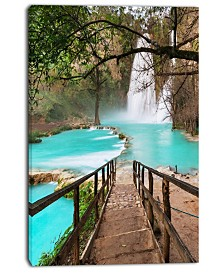"Designart Stairway Into Beautiful Waterfall Oversized Landscape Canvas Art - 30"" X 40"""