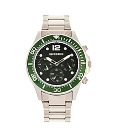 Quartz Pegasus Green Face Multi-Function Silver Alloy Watch 46mm